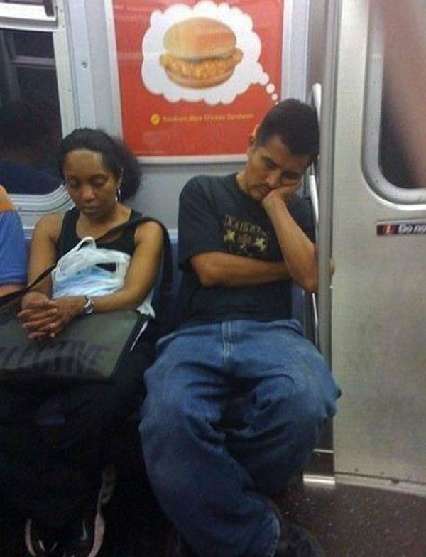 perfectly timed photos ~ sleeping man on subway dreaming of chicken sandwich