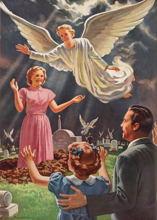 Vintage church poster illustration ~ Angel taking mom to heaven from cemetery, waving goodbye to family