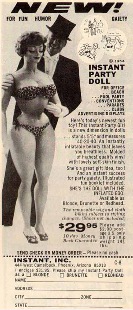 funny vintage ad~ blowup party doll
