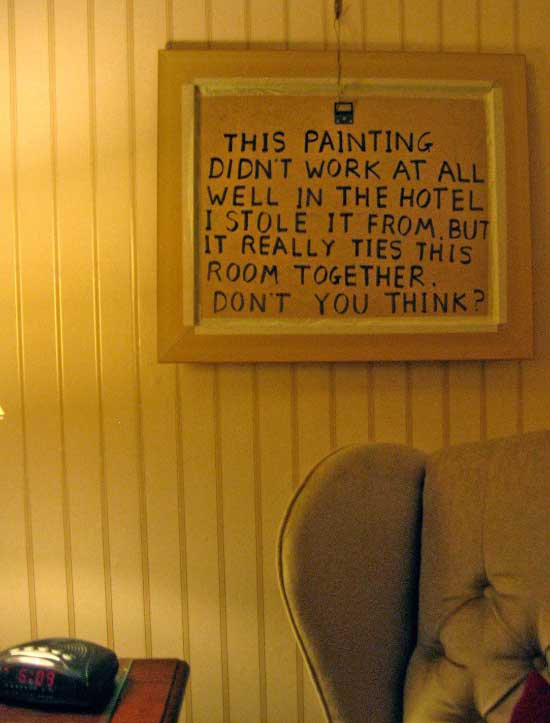 33 Funny Pics & Memes ~ funny motel room painting quote