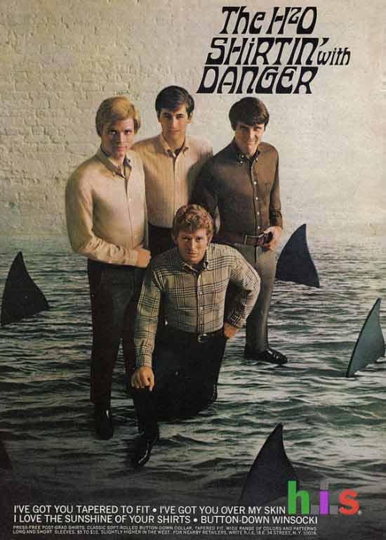 Vintage mens fashion ad h.i.s sharks