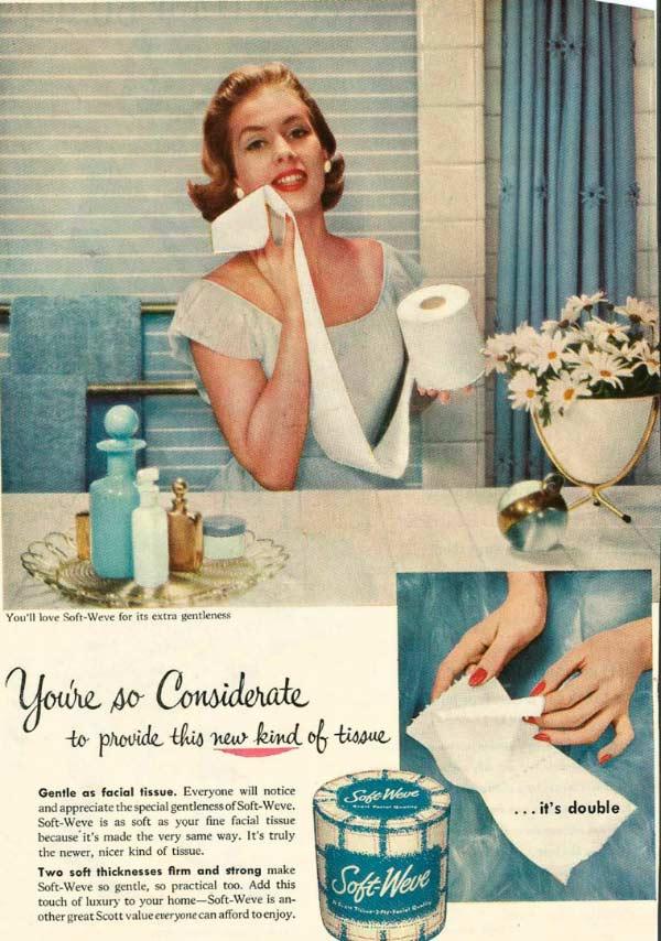 vintage sexist ad: soft weve toilet tissue