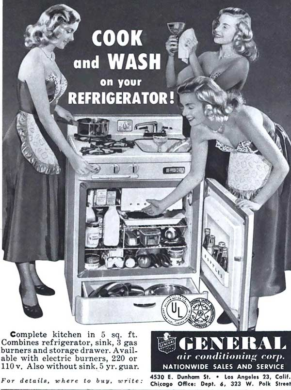 Funny Pics ~ 37 Outrageous Images ~ vintage sexist ad, cook & wash on your refrigerator