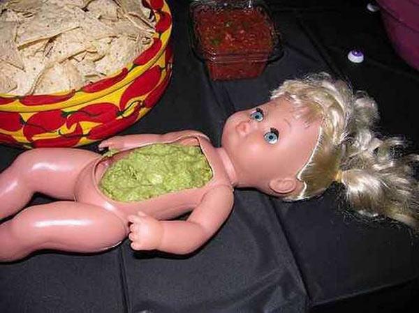 35 Funny Pics Memes ~ Baby Doll guacamole dip holder