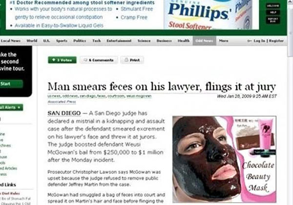 Bad Ad Placement Fails ~ feces chocolate beauty mask
