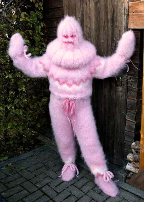 woman in crocheted body suit