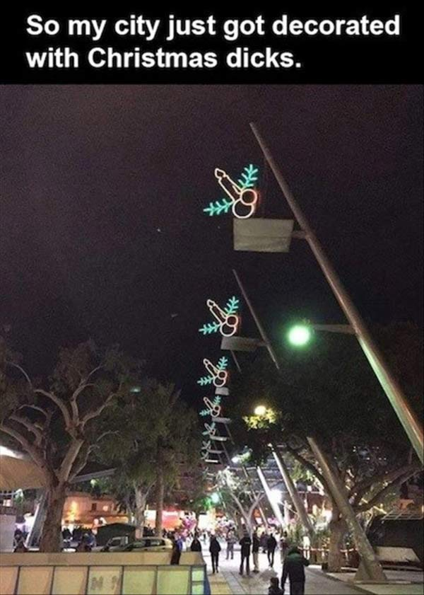 41 Funny Christmas Photos ~ City Christmas lights decorations that look like penis
