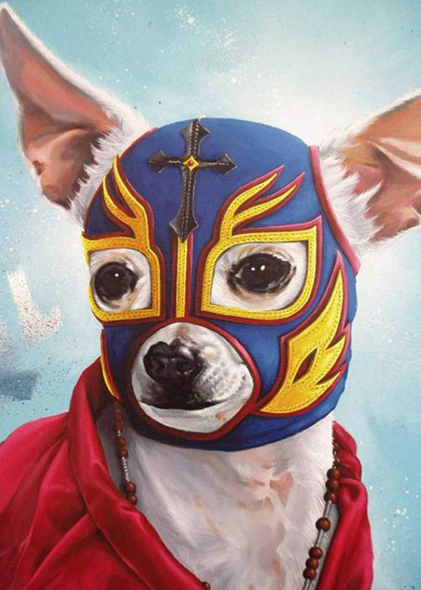 Funny Pics: Dog in Mexican wrestler mask