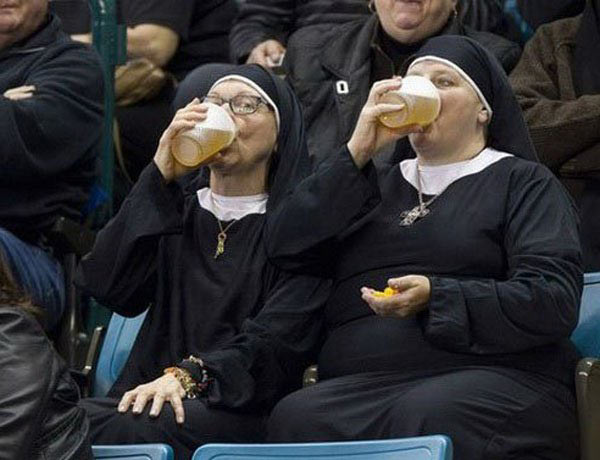 Funny Pic of nuns chugging beer
