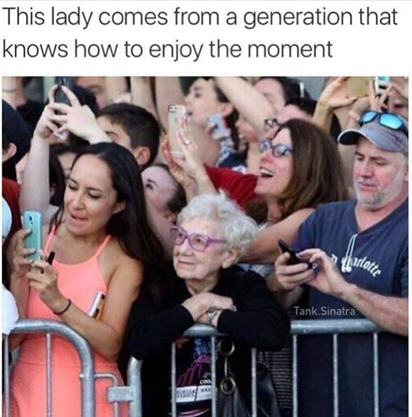 Funny Pics & Memes ~ Old lady enjoying the moment without a cell phone
