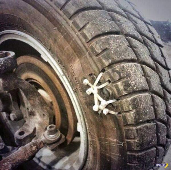 35 Funny Pics, Memes ~ Redneck Engineering ~ tire fixed with zip ties