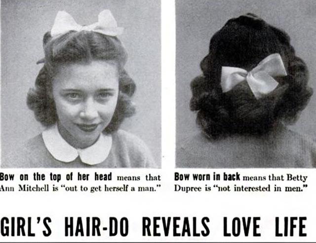 Funny Pics & Memes ~ vintage ad girl's hairdo reveals love life