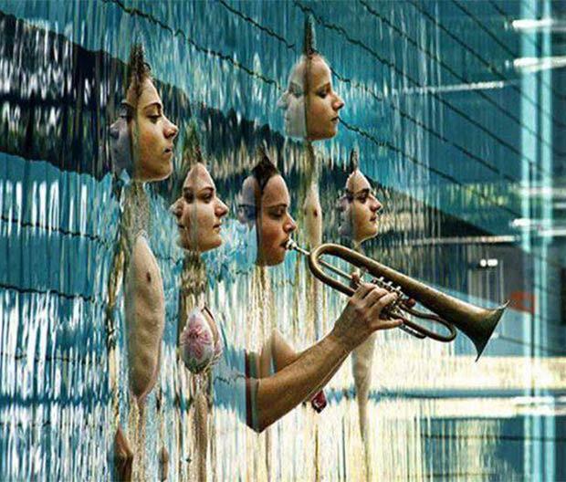 Funny Pics, Cool Stuff, surreal pool reflection trumpet
