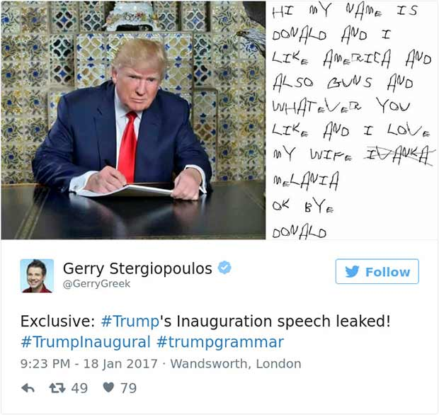 Donald Trumps Tweets Pic of Him Writing Inauguration Speech & Twitter Gets Hilariously Brutal!