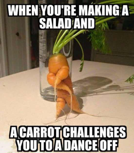 31 Funny Pics & Memes ~ carrot dance off challenge, making a salad