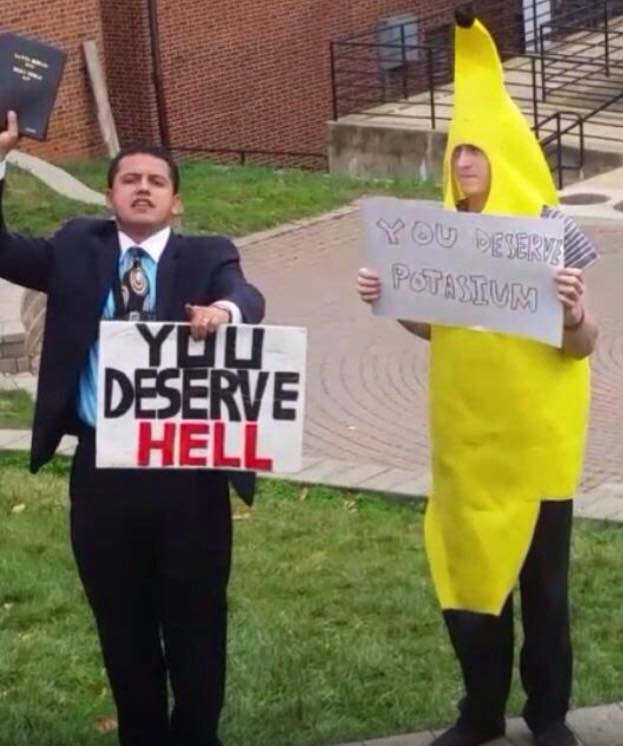31 Funny Pics & Memes ~ protest heckler banana suit, you deserve hell, you deserve potassium