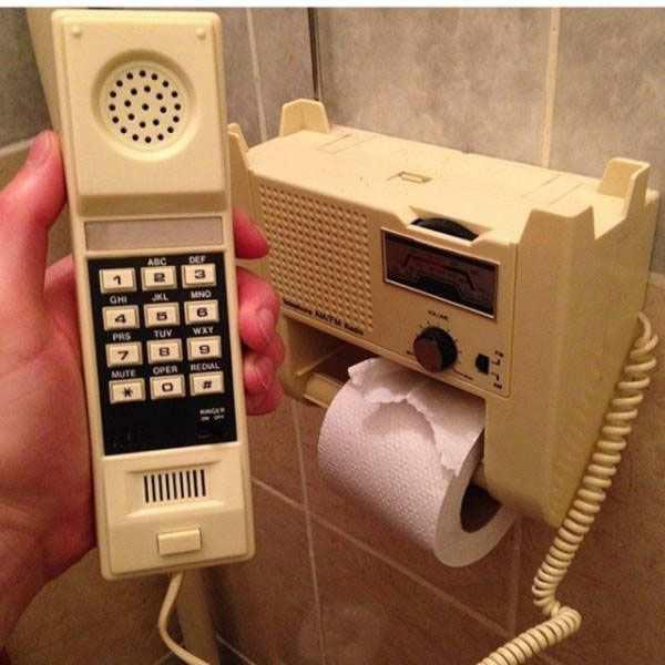 35 Funny Pics ~ vintage hotel bathroom phone, radio, toilet paper holder