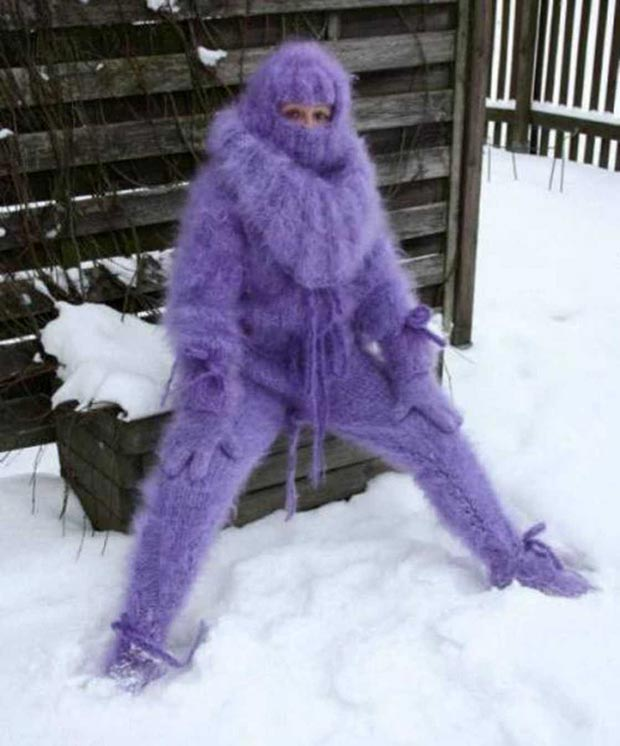 33 Funny Pics ~ woman in snow wearing full crocheted body suit