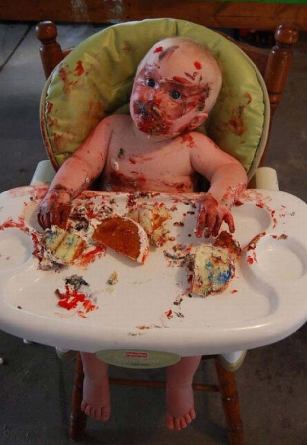 35 Funny Pics ~ creepy baby in high chair cake sugar buzz