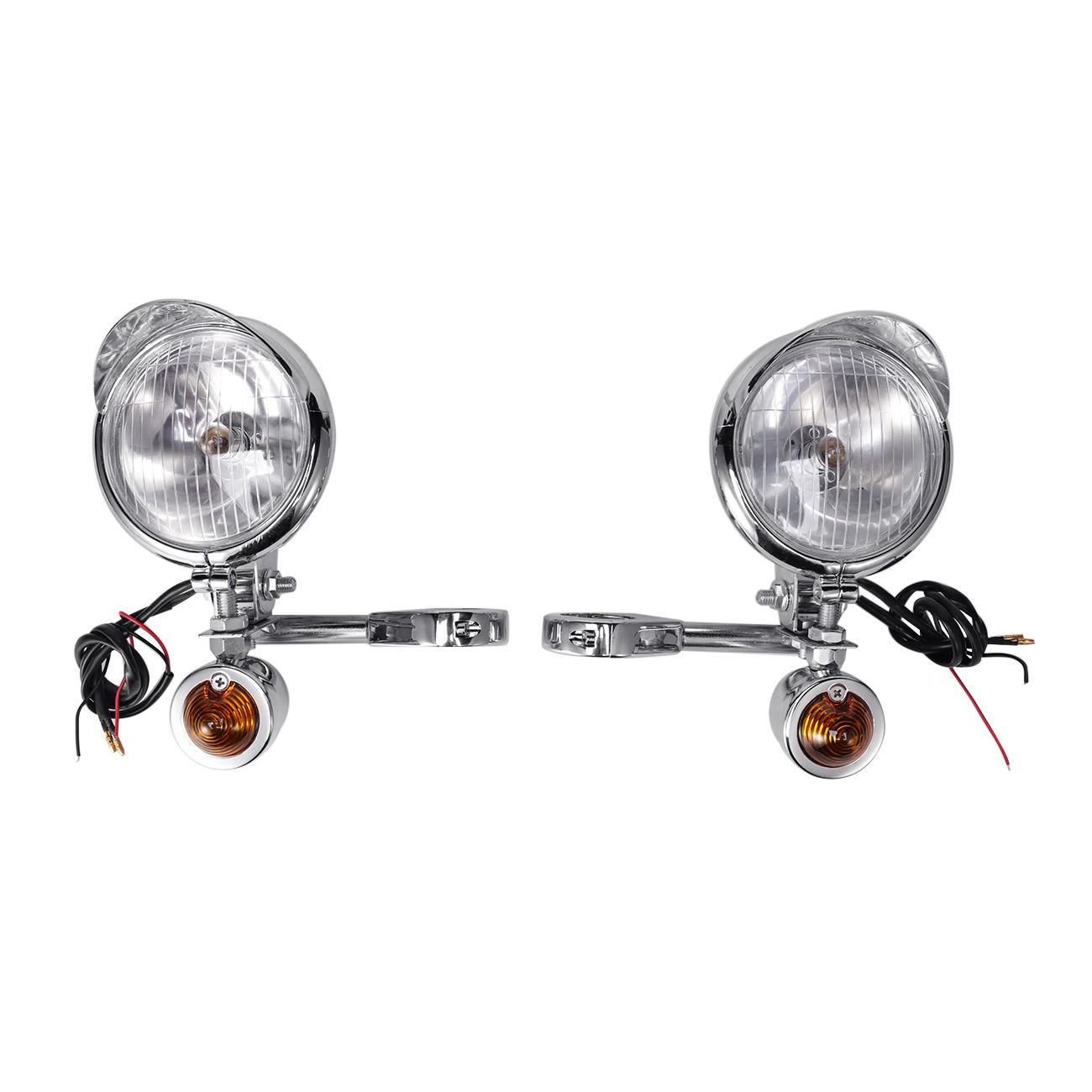 Chrome Turn Signal Passing Spot Fog Lights Bar For Harley