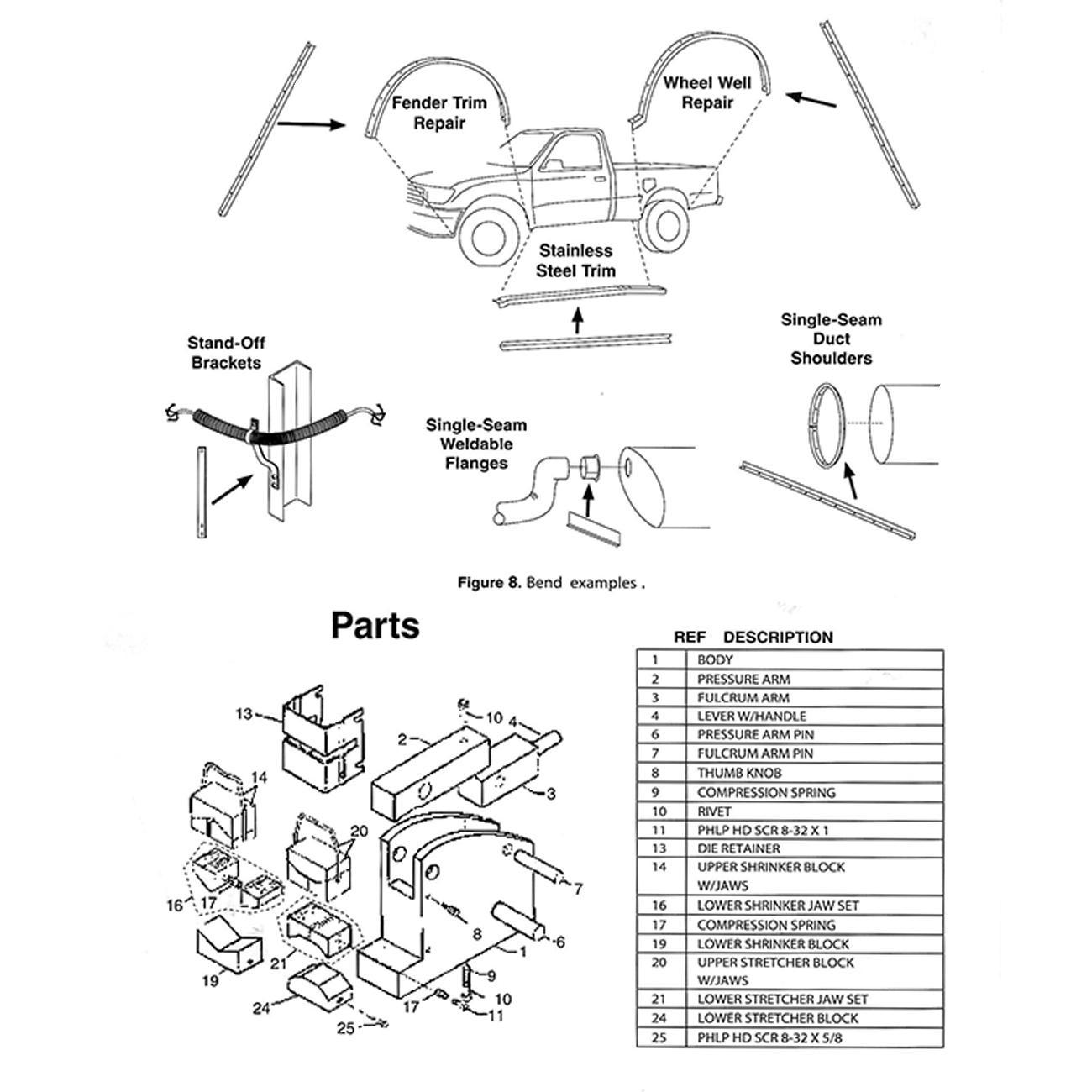 Sheet Metal Fabrication Shrinker Stretcher Set Motorcycle