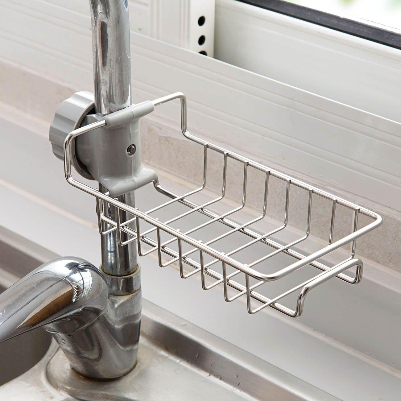 adjustable stainless steel sink storage