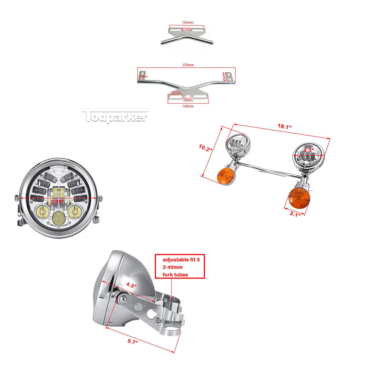 5 75 Led Headlight Passing Light Bar For Honda Vtx