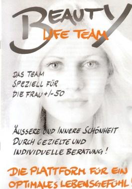 Titelblatt unserer Broschüre Beauty Life Team Eröffnung im kursalon mödling