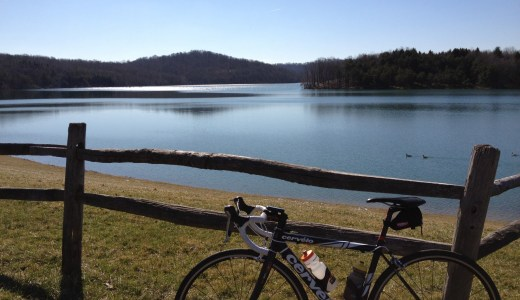 Bike by a lake