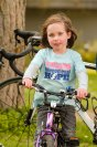 Greta on her bicycle ready for a ride