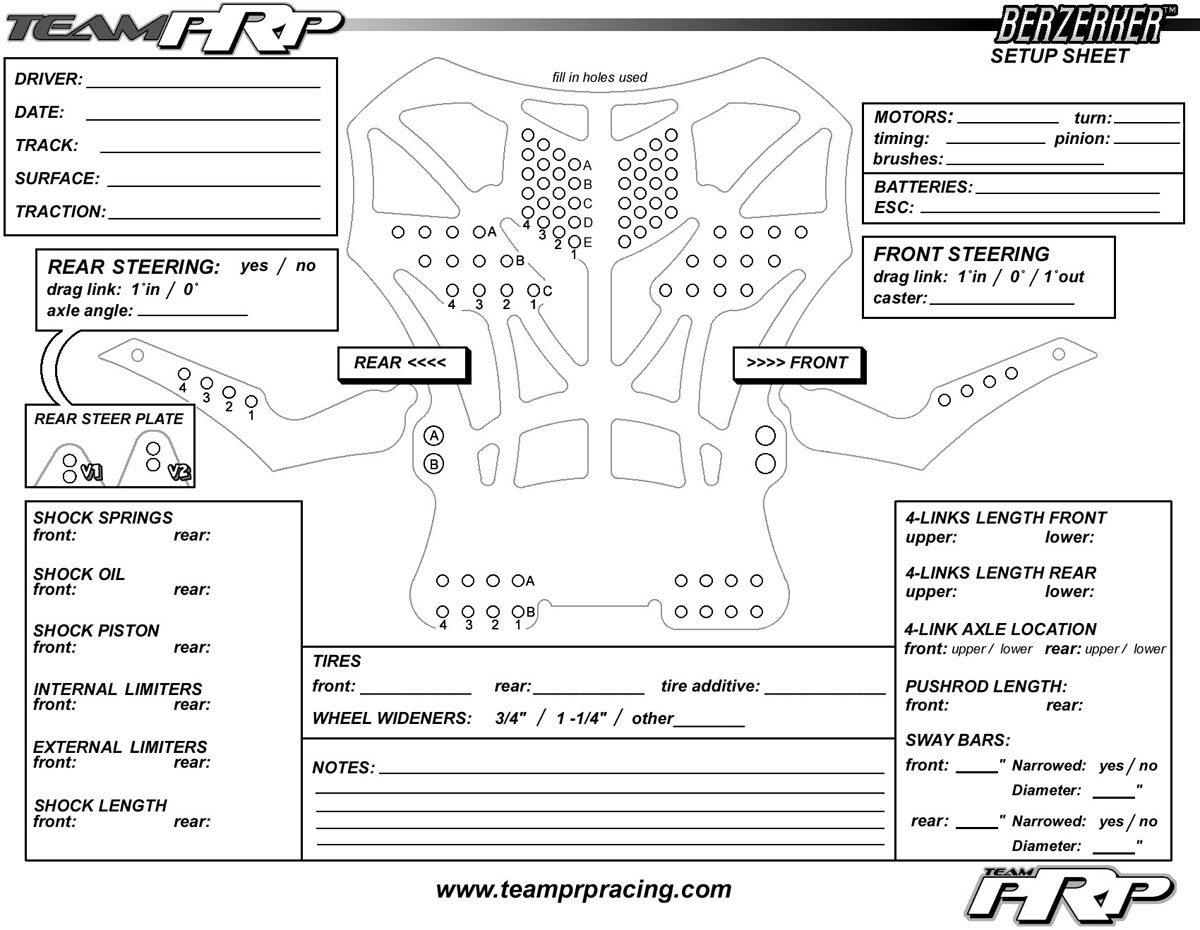 Chassis Set Up Sheets Printable Pictures To Pin On