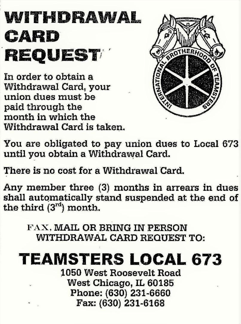 Teamsters Local 673 Withdrawal Card. The Teamster Privilege Credit ...