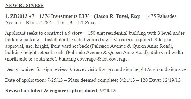 Teaneck Transparency | Why does 1475 Palisade need a huge
