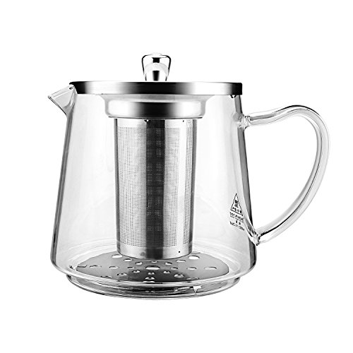 SIYANUO GLASS TEAPOT WITH REMOVABLE INFUSER AND LID