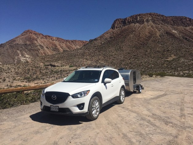 Photo of car and teardrop trailer