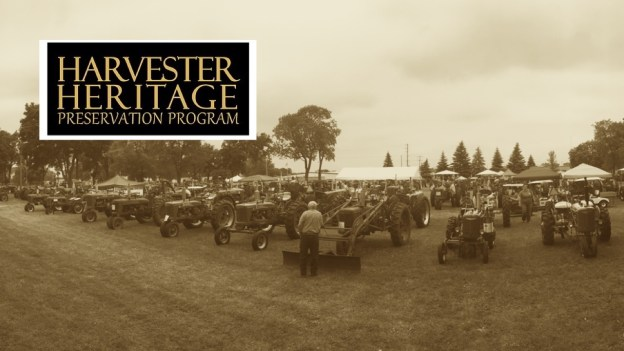 photo of old tractors with Harvester Heritage logo