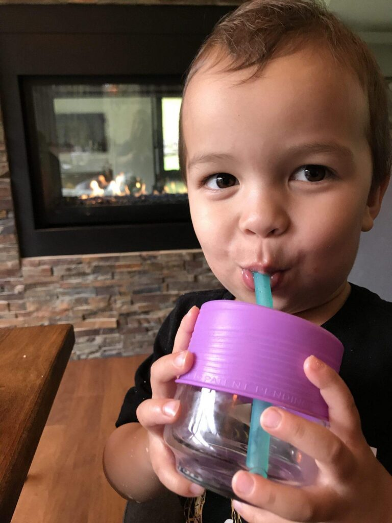 traveling with a toddler - siliskin straw
