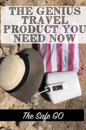 The Safe-Go is a portable travel safe or vault that locks to a beach chair, stroller, bench, tree, (whatever!). This genius beach product is the best travel safe! #travelsafe #portablesafe #travelhack #bestravelsafe #travelproduct #vacationhack