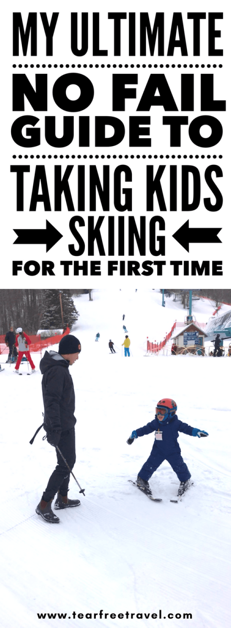 Are you planning a trip skiing with kids? Check out my no fail guide to first time skiing with kids. I'll review the best kids skiing tips, toddler skiing tips and all the kids ski gear we brought along. All you need to be prepared for your first time with children. Save this for your next family winter getaway! #skiing #winter #winterfun #wintergetway #kidstravel #outdoor #snow
