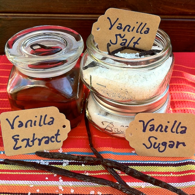 Give the gift of vanilla for the holidays. This spice set includes homemade vanilla extract, vanilla salt and vanilla sugar - easy to make! Recipes at Teaspoonofspice.com