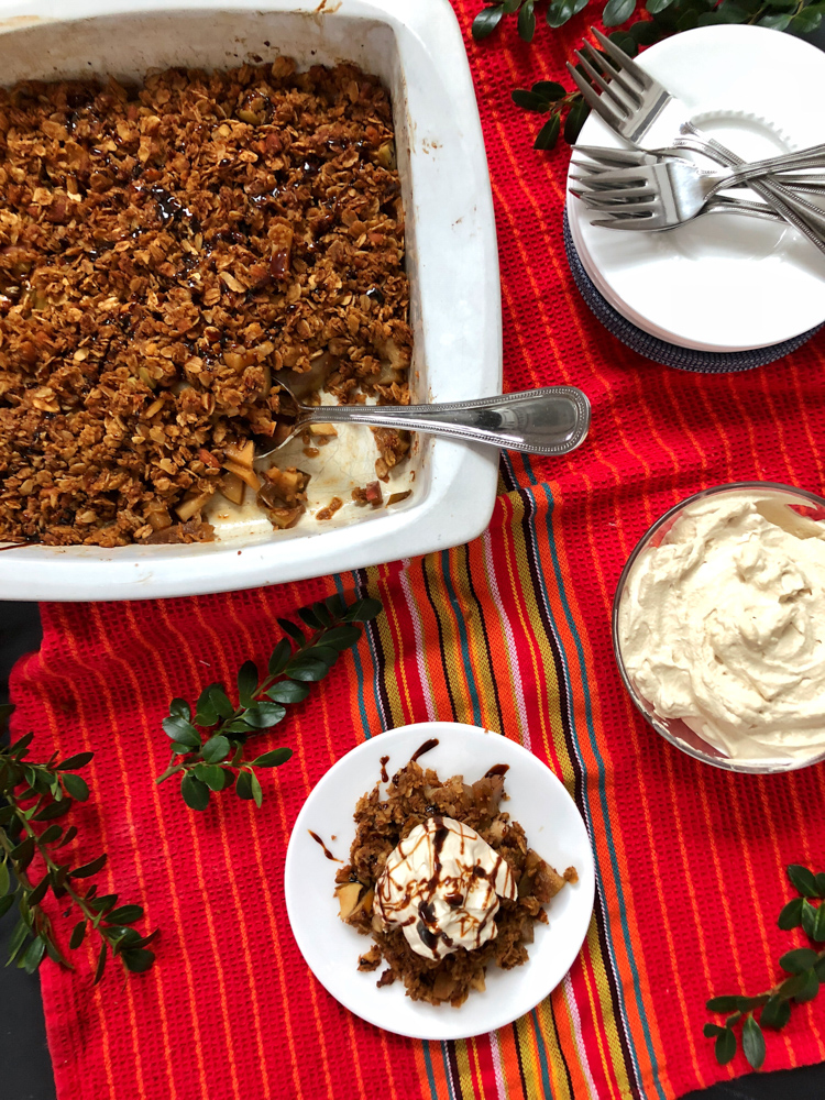 Get cozy with this pear and apple crisp with gingerbread topping - perfect for the holidays or cold weather meals. Recipe at Teaspoonofspice.com