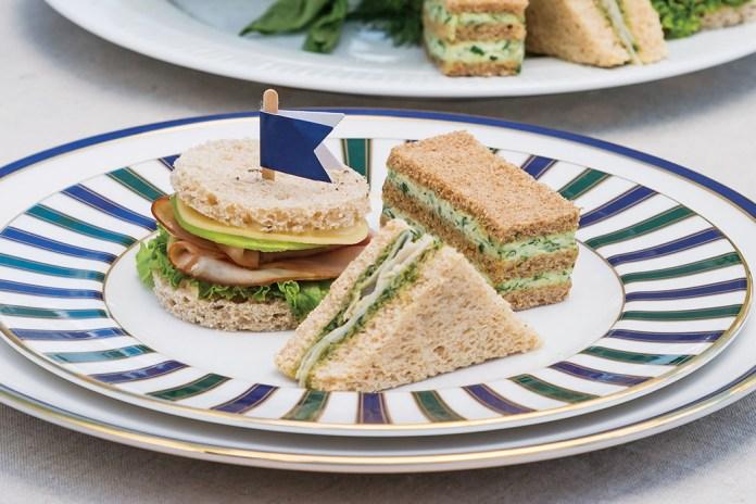 Turkey-Pesto Sandwiches Herbed Cheese Triple-Stack Sandwiches