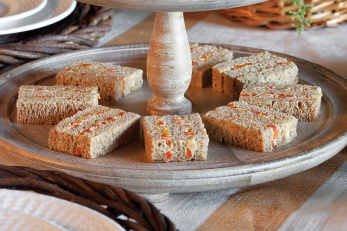 Roasted Vegetable and Cream Cheese Tea Sandwiches