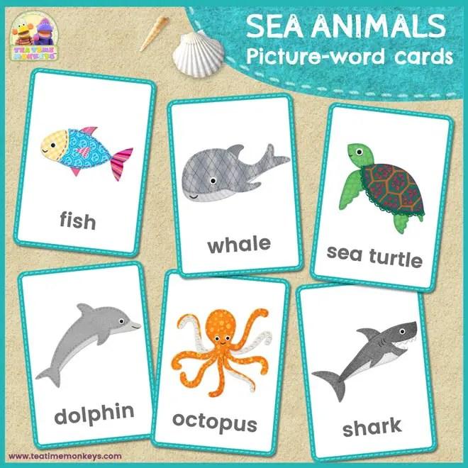 Sea Animals Flashcards Tea Time Monkeys