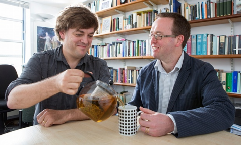 Matthew Mauger, left, and Richard Coulton, the lecturers who found the oldest tea in England. Photograph: Graham Turner