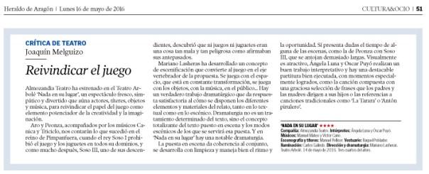 Crítica de Teatro Joaquín Melguizo En Heraldo de Aragón