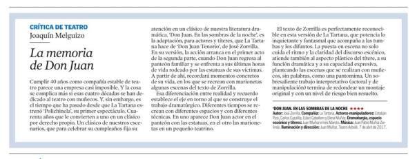 Crítica de la obra Don Juan de La Tartana, por Joaquín Melguizo en Heraldo de Aragón.