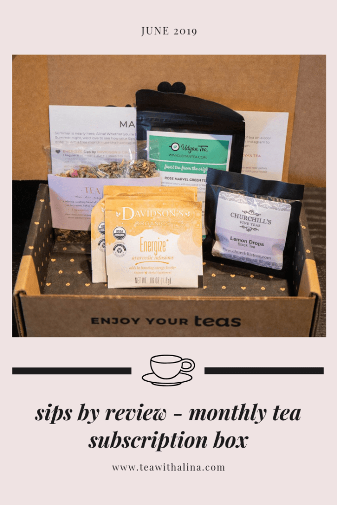 Sips By Review - Monthly Tea Subscription box delivered to your door. Try all types of teas, whether in a tea bag or loose leaf. They send all different kinds of teas including green tea, black tea, herbal tea and more.