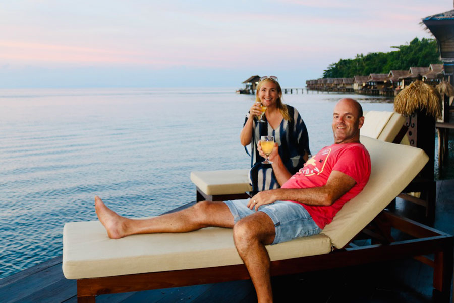 Relaxing on Our Deck with Cocktails - Luxury Raja Ampat