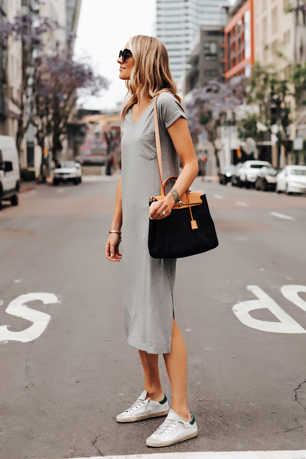 Classic Details to Style A T-Shirt Dress